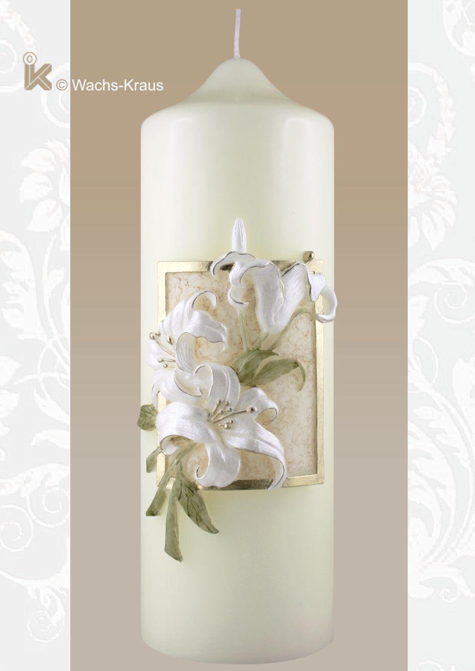 Hochzeitskerze champagnerfarben Lilien aus Wachs gegossen