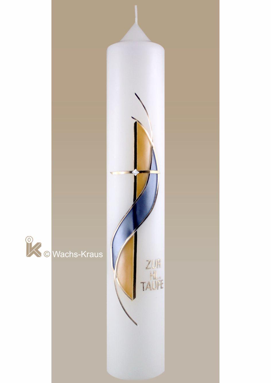 Taufkerze Junge modernes Designe in Perlmutt blau gelb und gold