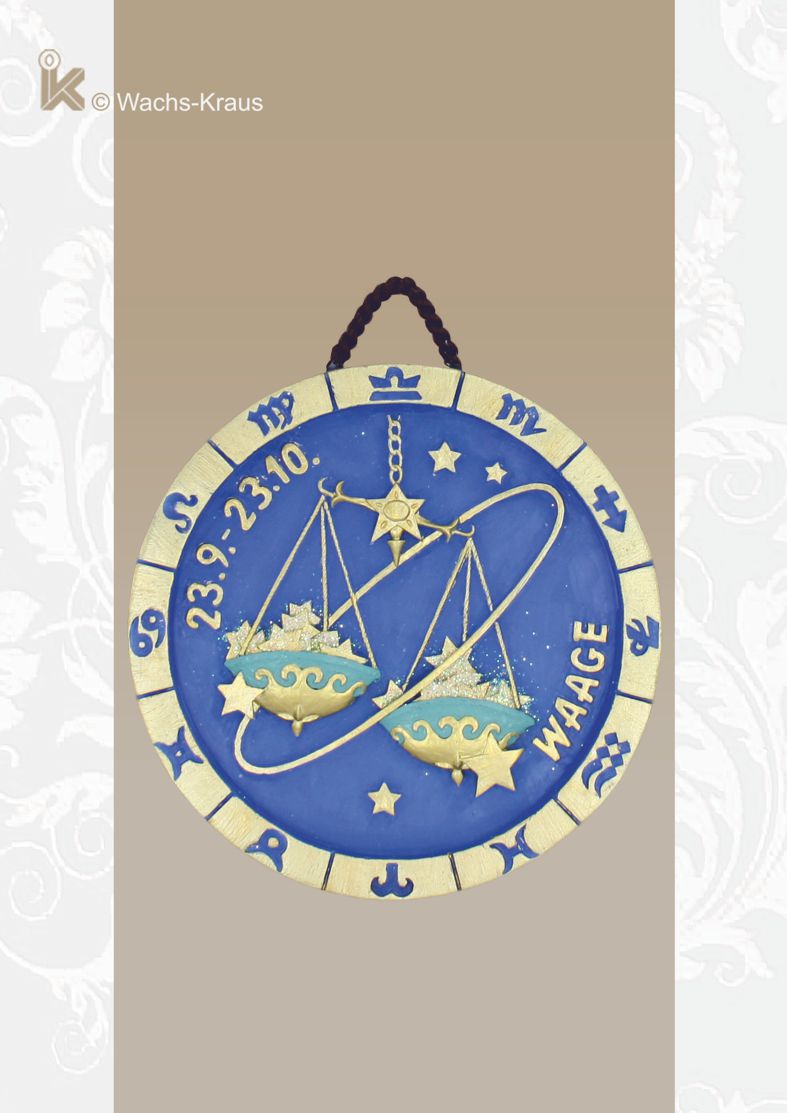 Sternzeichen Waage, Relief zum aufhängen, schenken oder sammeln.