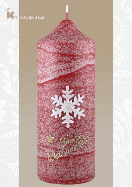 Adventkerze Schneeflocke, rot