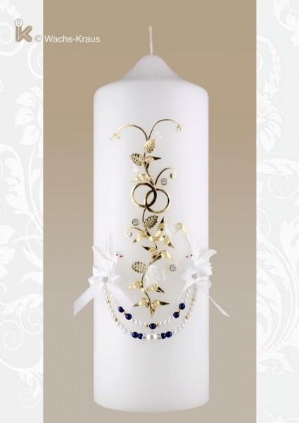 Hochzeitskerze Vintage mit Perlenkette und Strassteinen