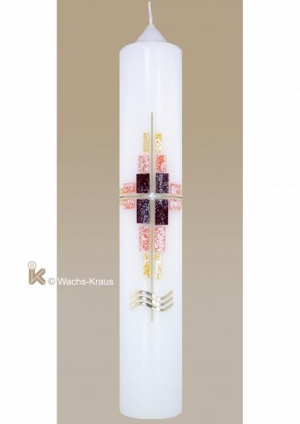 Preiswerte Taufkerze für Mädchen, modern, Mosaik-Kreuz in gelb, orange und rot