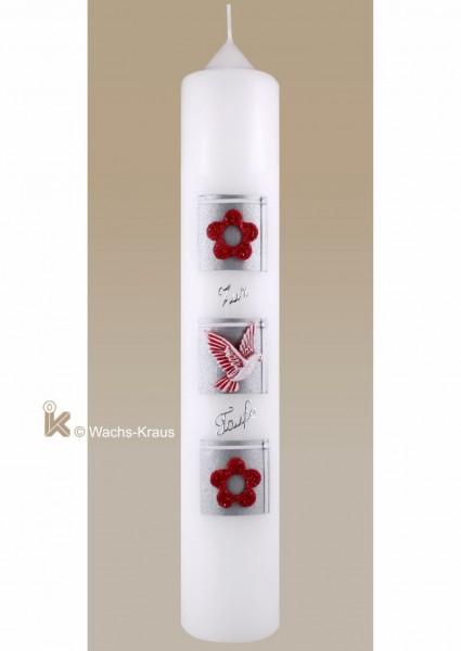 Moderne Taufkerze für Mädchen, silber-rot, Taube und Schriftzug