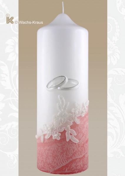 Hochzeitskerze Spitze rosa