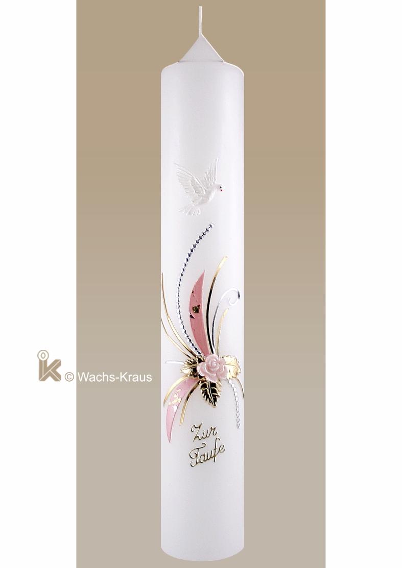 Eine modern gestaltete Taufkerze für Mädchen mit einer wunderschönen Blume in der Mitte. Darüber die hl. Geist Taube, darunter der Schriftzug: Zur Taufe.