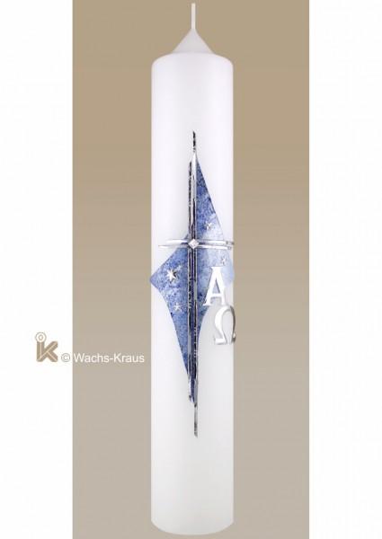 Taufkerze Junge modern in edlem silber blau, Kreuz und Sterne
