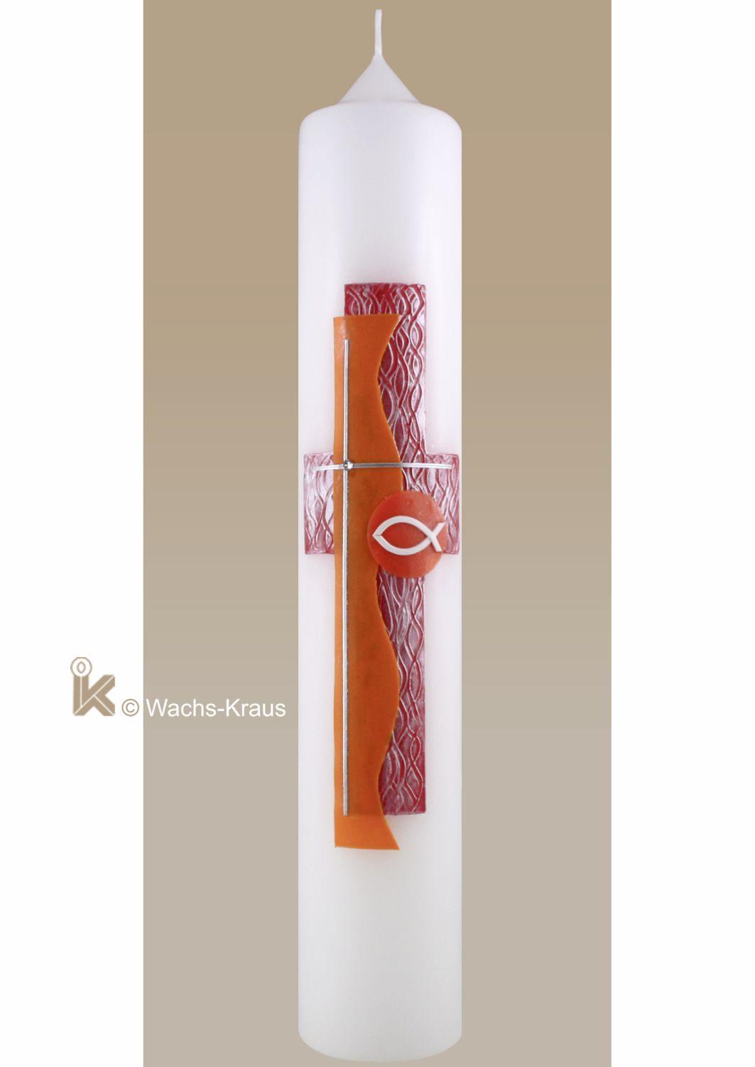 Taufkerze modern, rot-orange, Kreuz Fisch aus unserer Meisterwerkstatt