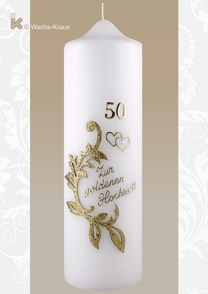 Geschmackvoll gestaltete Kerze zur Goldenen Hochzeit mit feiner Wachsauflage, Herzen, Schriftzug und Zahl zu einem top Preis.