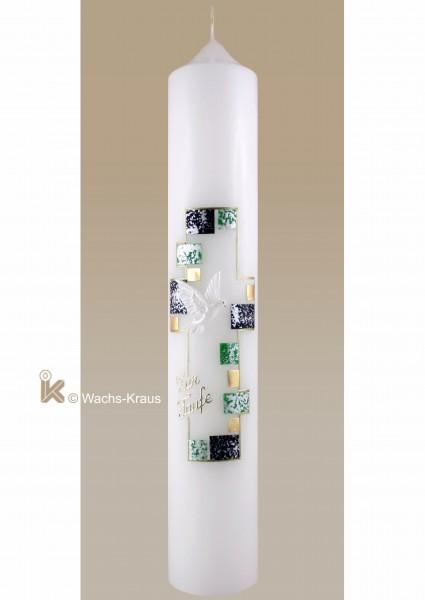 Taufkerze modern, Kreuz in Mosaik gelegt, grün, blau und gold. Taube