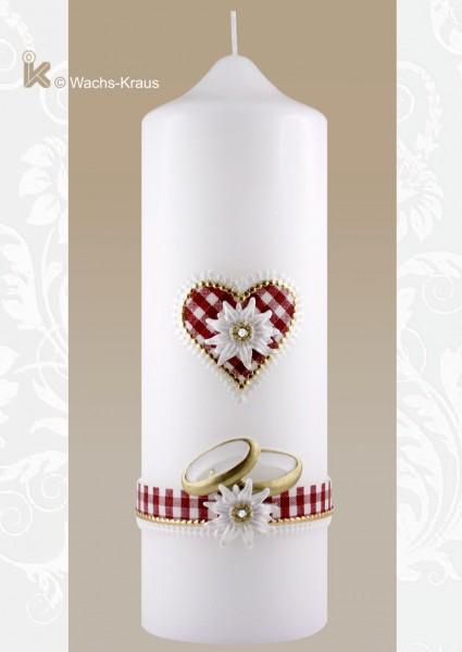 Hochzeitskerze für die Trachtenhochzeit: Edelweiß & Herz, rot