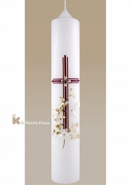 Taufkerze Mädchen klassisch. Dreifaches Kreuz in kräftigem rot mit einem Strasstein, Blumenranke gold