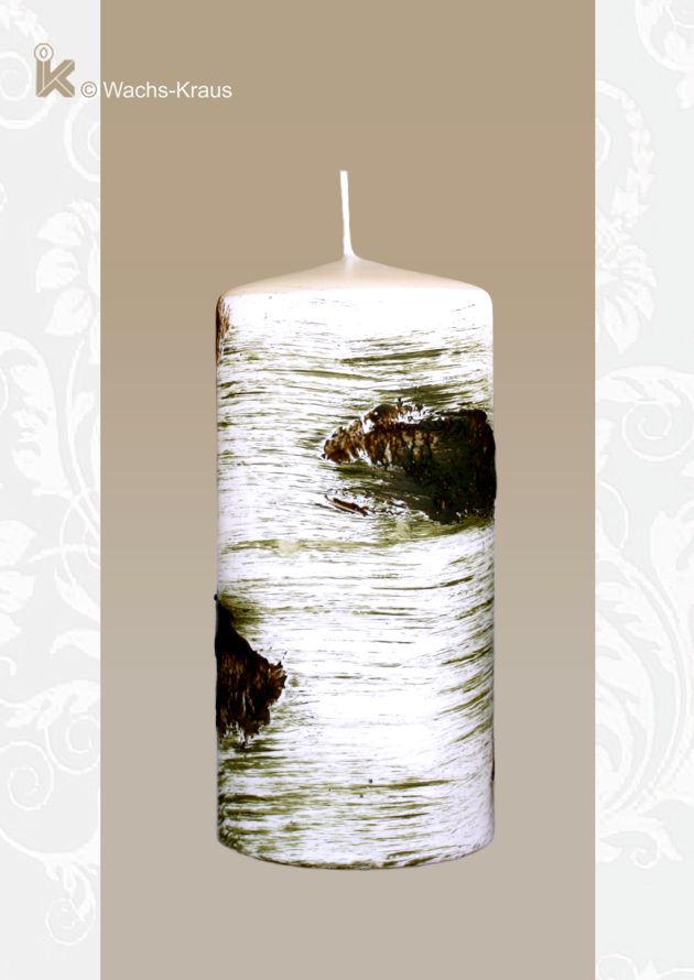 Für Tisch oder Garten: Kerze Birke klein