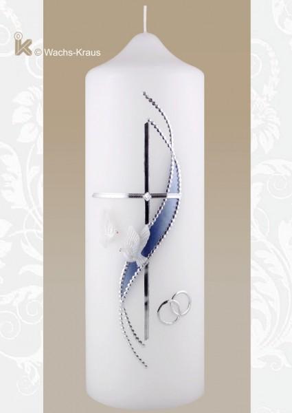 Hochzeitskerze in kühlem blau und silber verziert, reine Handarbeit