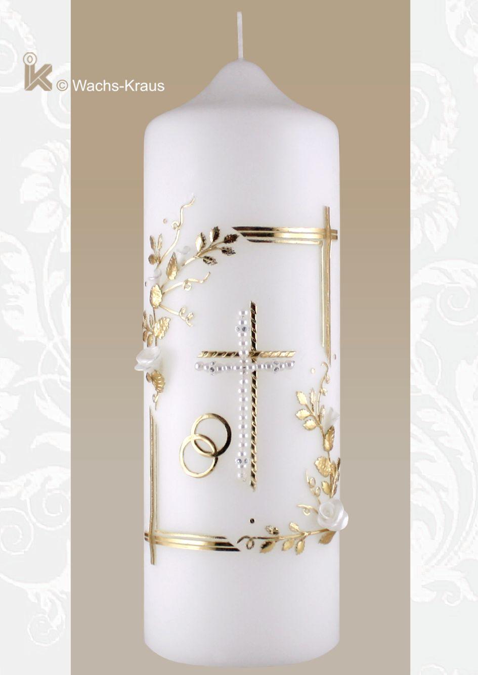 Bezaubernde Vintage-Hochzeitskerze mit Perlen-Kreuz und Blüten