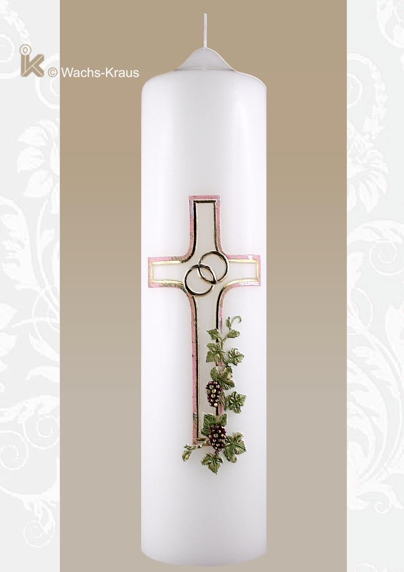 Eine  Hochzeitskerze mit wunderbarer Symbolik. Das Kreuz, dazu gegossen aus Wachs eine kleine Weinrebe als Zeichen der Fruchtbarkeit.
