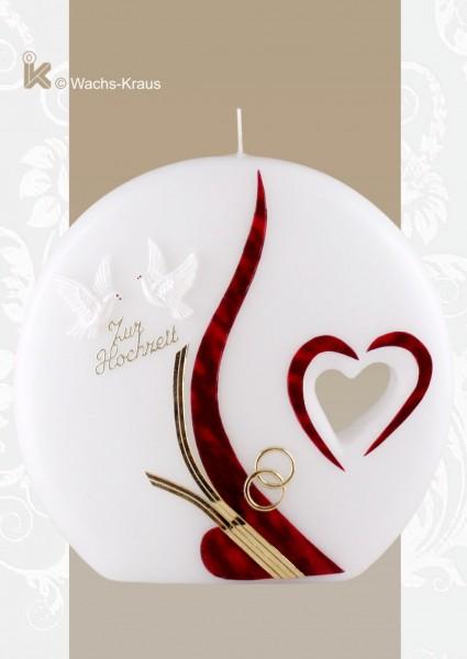 Exklusive Hochzeitskerze Herz, Kerze in Scheiben-Form