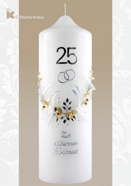 Kerze zur Silbernen Hochzeit bicolor