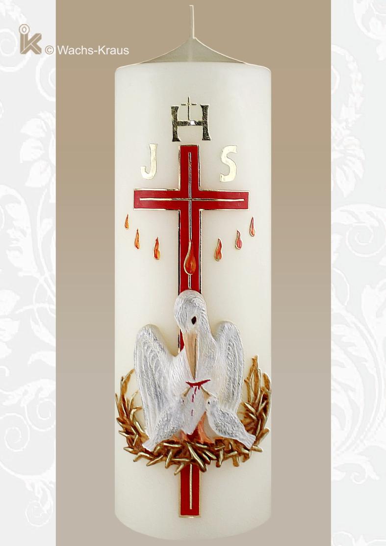 Eine Kerze, dem festlichen Anlass, einer Priesterweihe, entsprechend. Das feine goldene Kreuz, das rot unterlegt ist, der durch Flammen dargestellte Hl. Geist