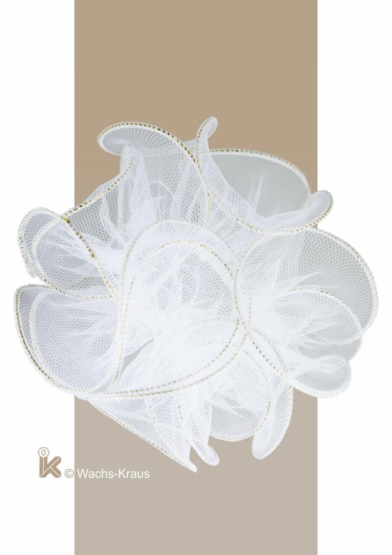Tropfenfänger - Tropfschutz Tüll weiß, goldener Saum