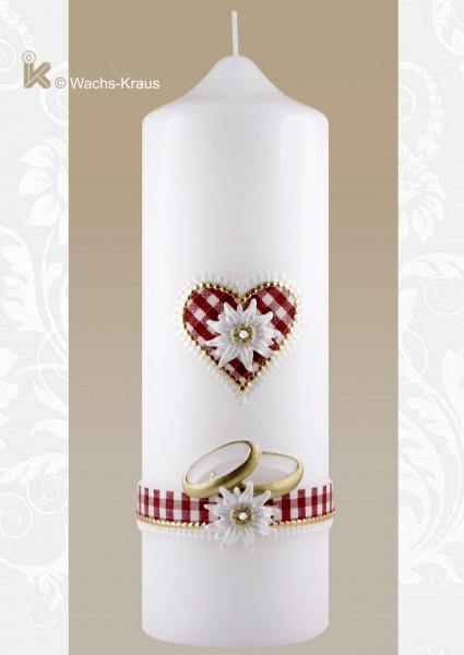 Hochzeitskerze Edelweiß rot