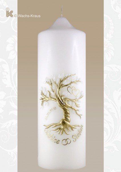 Hochzeitskerze Baum. Aufwändig modellierte und verzierte Hochzeitskerze mit einem aus Wachs gegossenen Baum