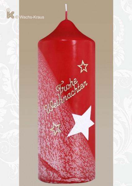Adventskerze Schneeflocke rot, raffiniert verziert