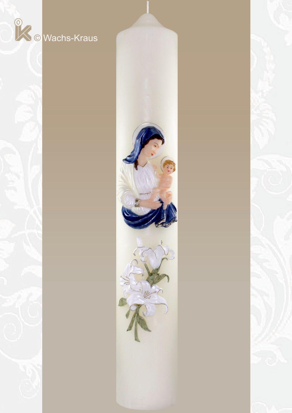 Stattliche Marienkerze mit 1/2 Meter Höhe und Madonna aus Wachs