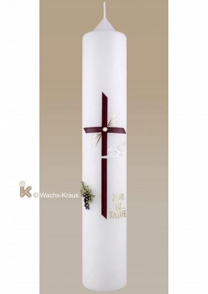 Taufkerze Mädchen klassisch, Weintraube und Kreuz gold rot