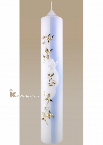 Taufkerze in zartem blau mit goldener Blumenranke und weißen Blüten, Taube und Schrift