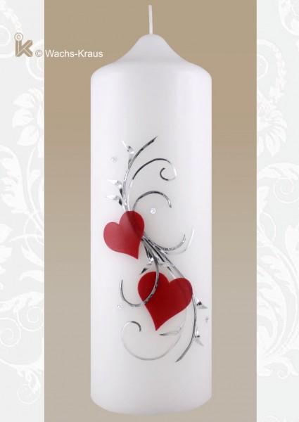Hochzeitskerze zwei  rote Herzen silberfarbene Verzierung