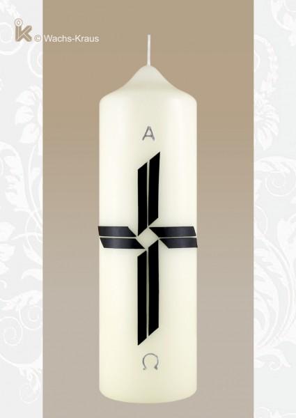 Trauerkerze schwarzes Kreuz, Alpha und Omega