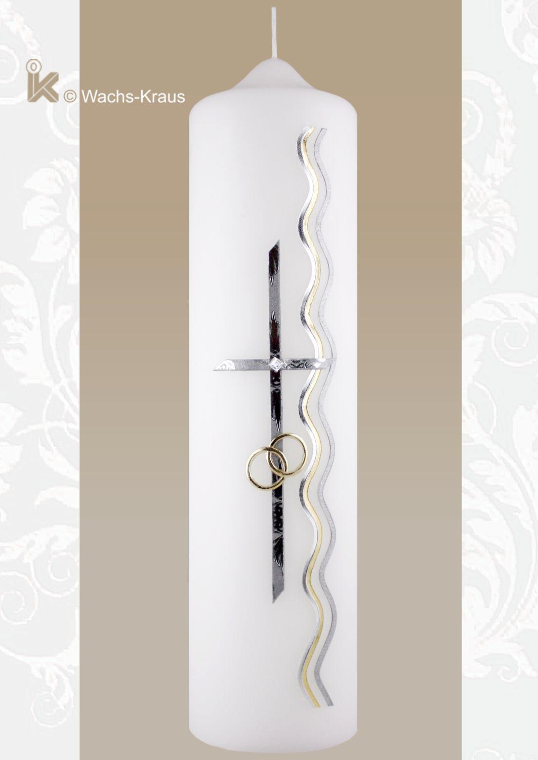 Hochzeitskerze elegant und zeitlos, Kreuz und Ringe gold-silber