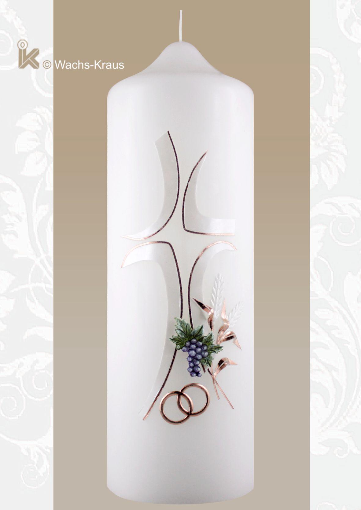 Top moderne Hochzeitskerze Rosegold, Kreuz, Trauben und Ähren