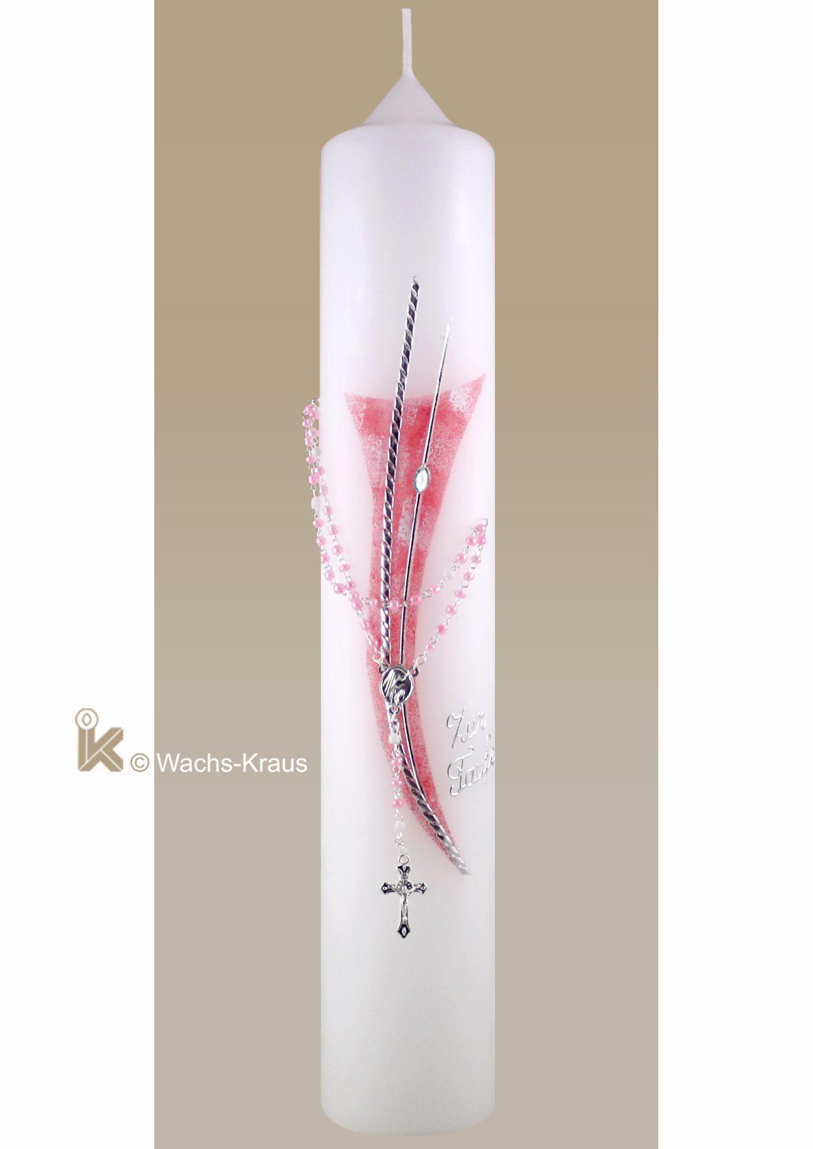 Moderne Taufkerze für Mädchen rosa-silber mit einem echten Rosenkranz