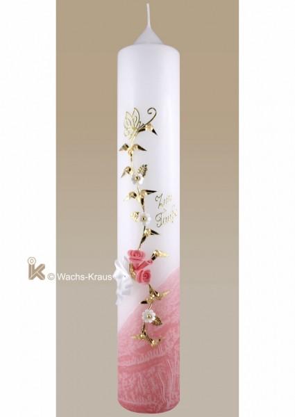 Taufkerze Schmetterling und Blumenranke, rosa