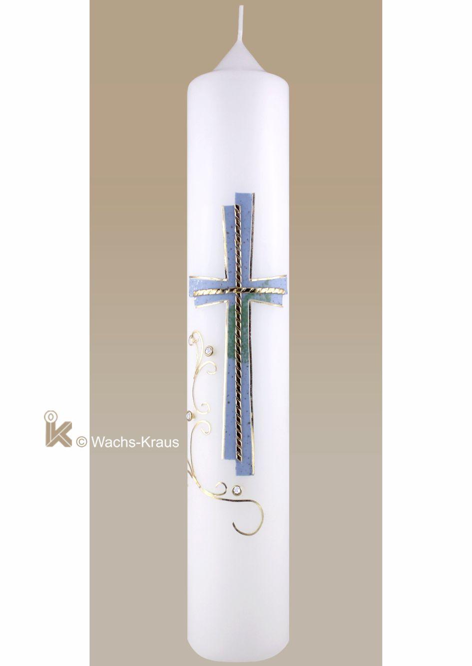 Moderne Taufkerze für Jungen. Das in sich versetzte Kreuz, blau Gold sowie eine Ranke mit kleinen Strasssteinen.