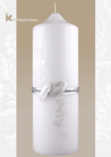 Kerze zur Hochzeit Vintage Style, Silber