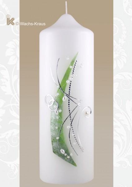 Moderne Hochzeitskerze mit grün-silbener Verzierung