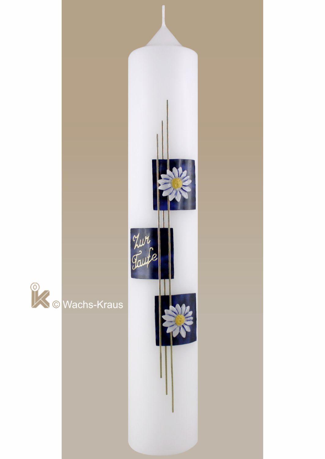 Taufkerze Blüten, gold-blau