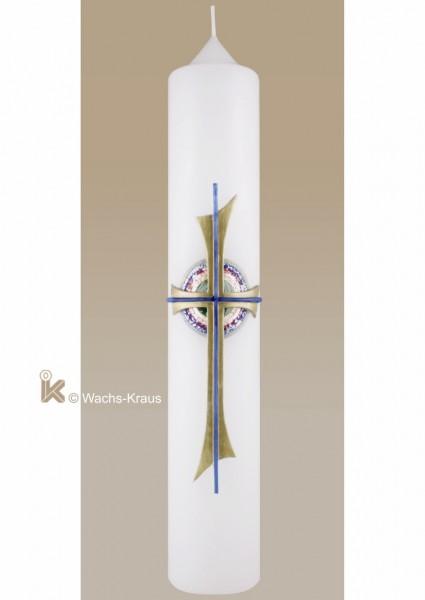 Taufkerze für Mädchen und Jungen, das Kreuz aus Wachs gegossen