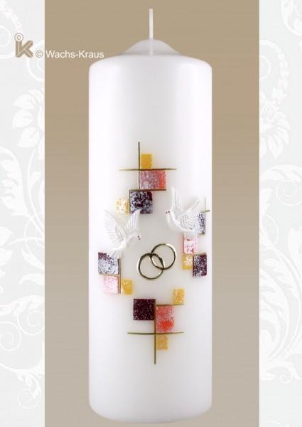 Hochzeitskerze für eine standesamtliche Trauung, Mosaik orange gold
