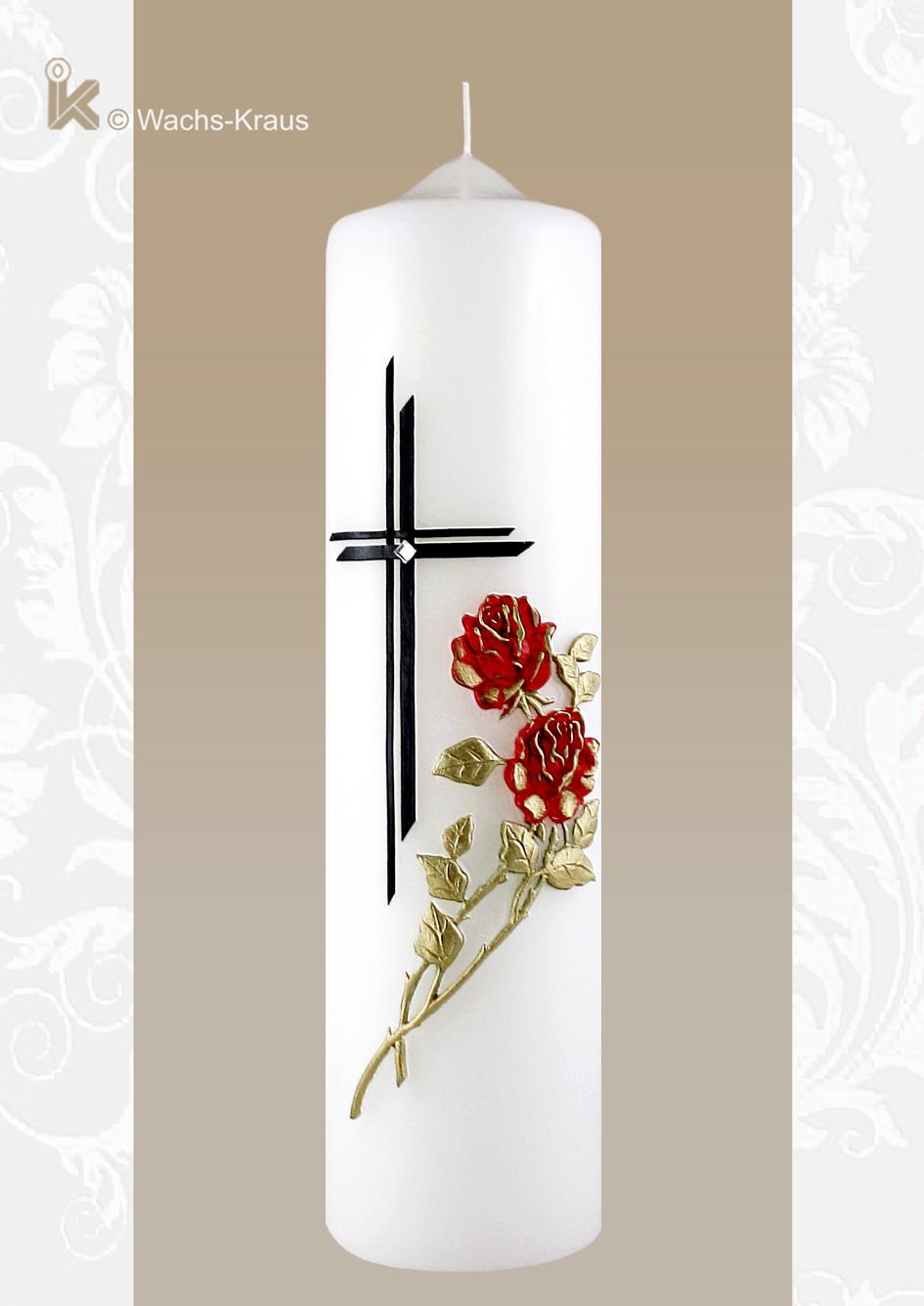 Optisch sehr ansprechende und würdevoll gestaltete Trauerkerze mit einer aus Wachs gegossenen roten Rose und einem doppelt gelegten Kreuz .