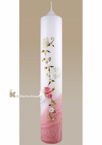 Taufkerze Schmetterling Mädchen, gold und rosa getaucht