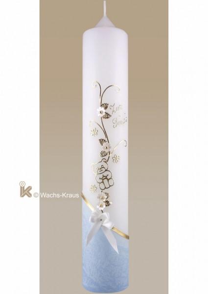 Taufkerze Bär blau gold mit Schleife, Blumenranke schräg blau getaucht