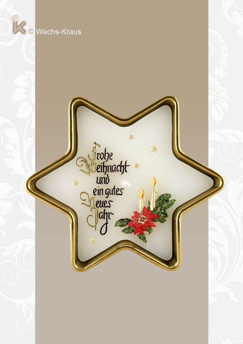 Weihnachtskerze in einem Messing-Stern, bemalt. von oben fotografiert