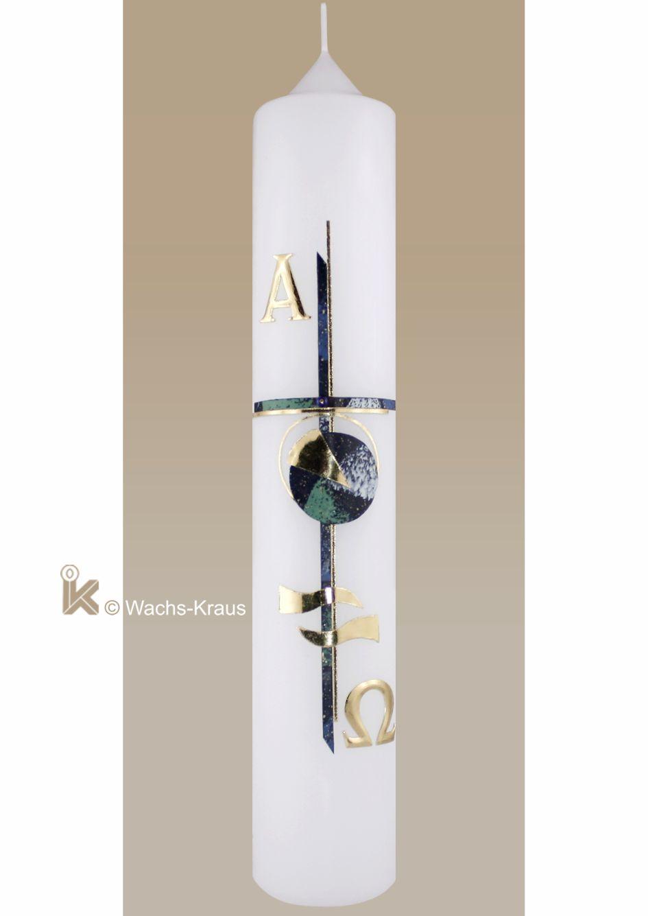 Moderne Taufkerze Junge, grün-blau-gold, Kreuz, Alpha und Omega, Welle
