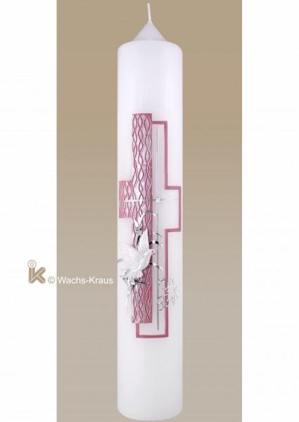 Taufkerze Kreuz rosa-silber