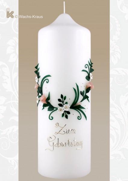 Für runde Geburtstage: Vintage Kerze Blütenkranz