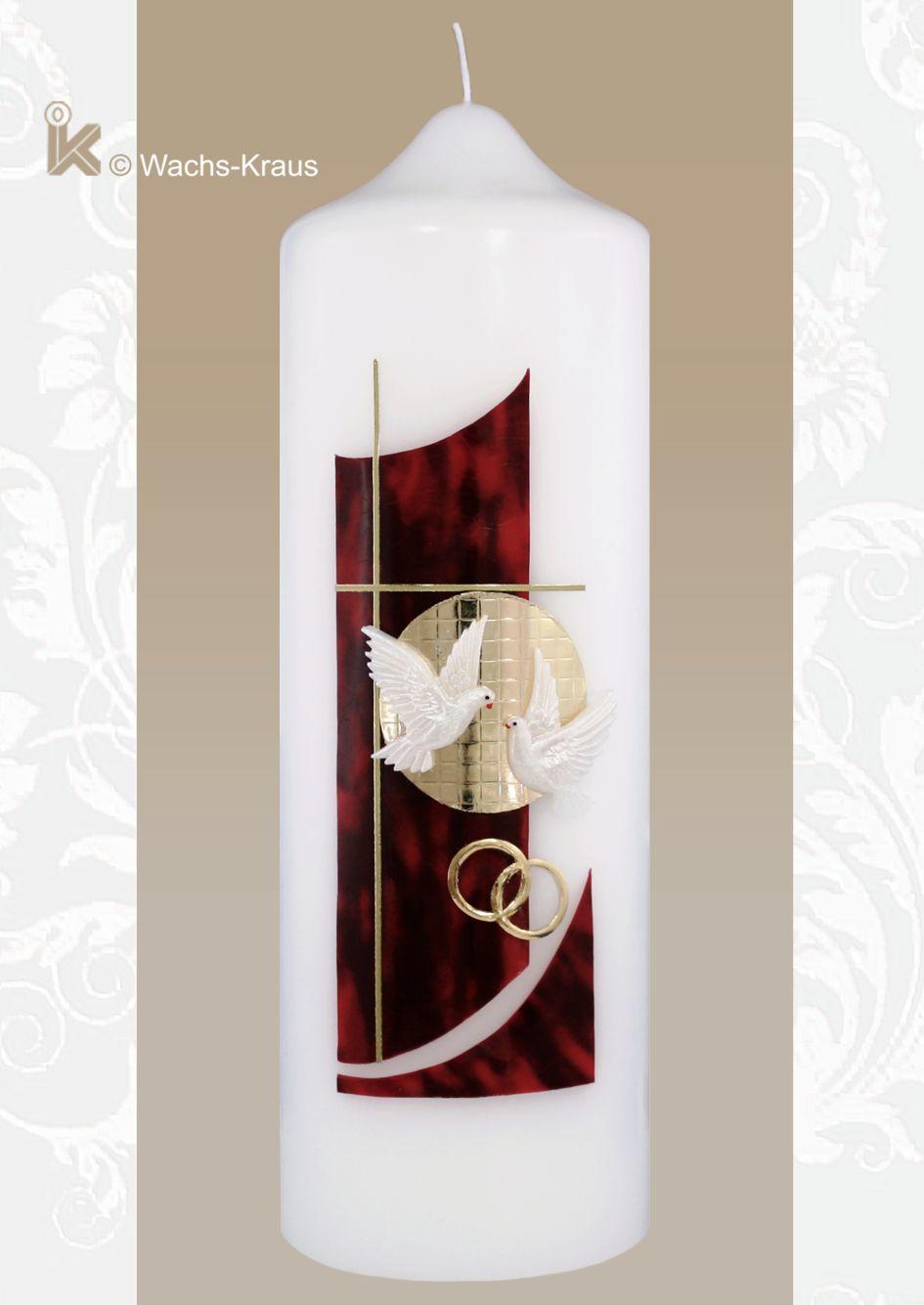 Hochzeitskerze in modernem Design geflammt rot mit Kreuz
