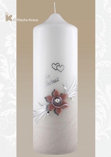 Hochzeitskerze Luther-Rose, unten zart grau getaucht